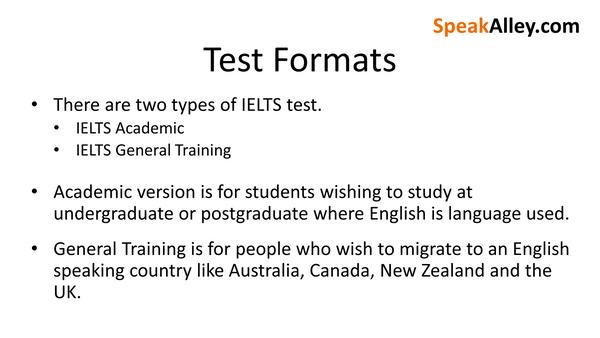 IELTS Test Formats