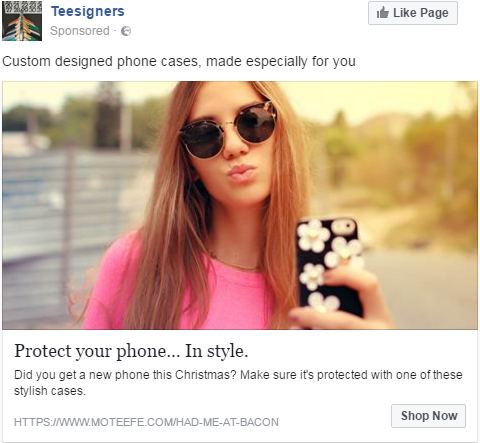 Phone case Facebook ad example