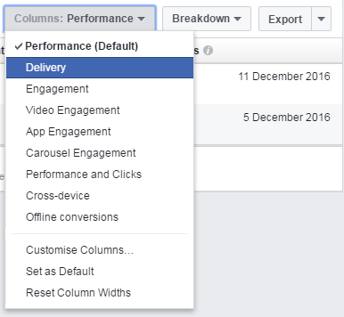 filters on your facebook ad manager