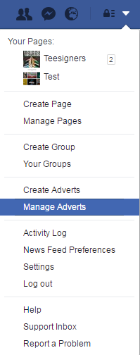 Manage facebook adverts
