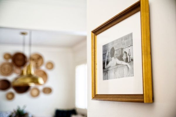 gold frame with black and white photography
