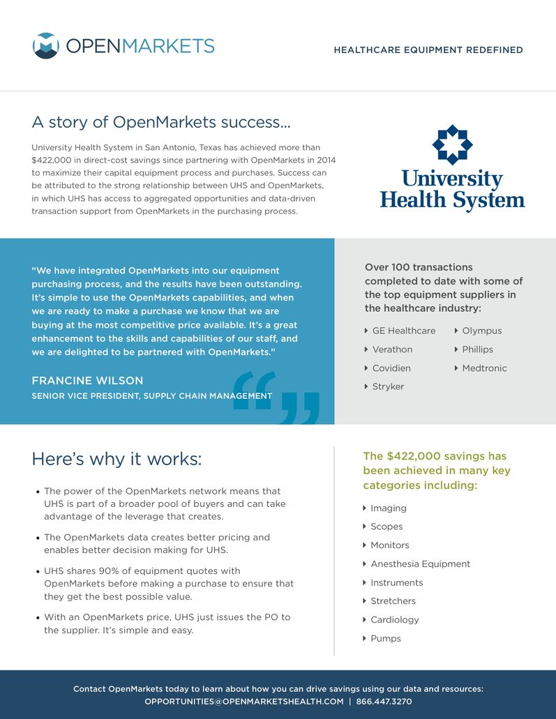 University Health System Success Story | OpenMarkets