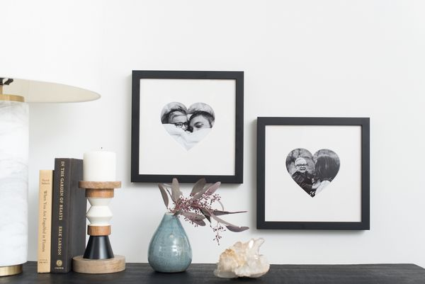 black frames with heart shaped mats
