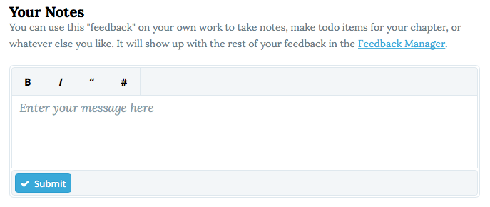 Add notes on your own work