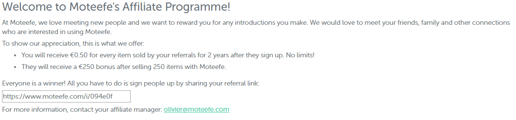 affiliate links with moteefe