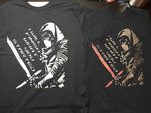 An image of Kylo Ren bleached onto a black tee shirt.