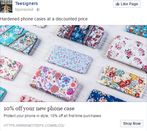 phone case facebook advert example