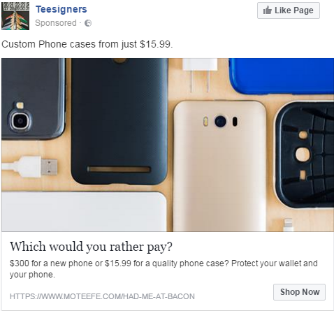 Phone case ad example