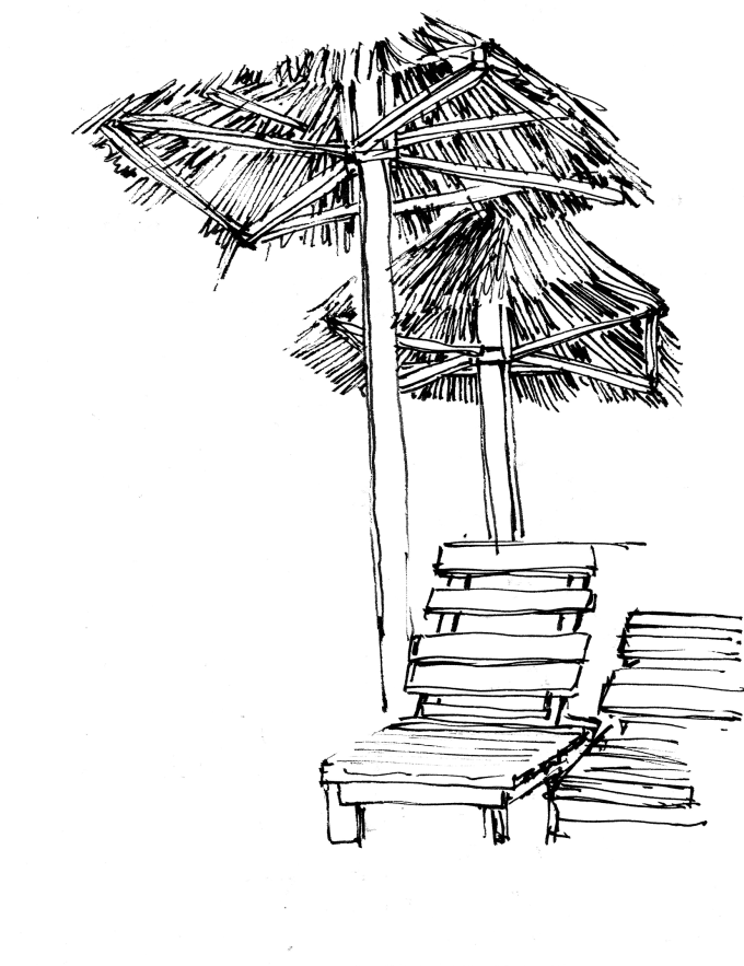 drawing of chair on beach