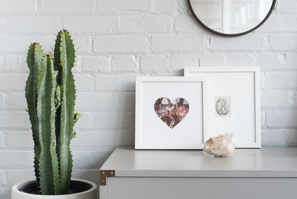 white frame with heart shaped mat