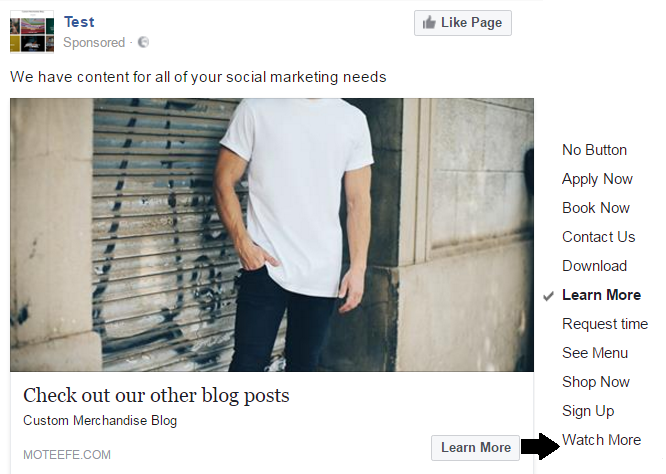 Call-to-action on facebook ads with Moteef
